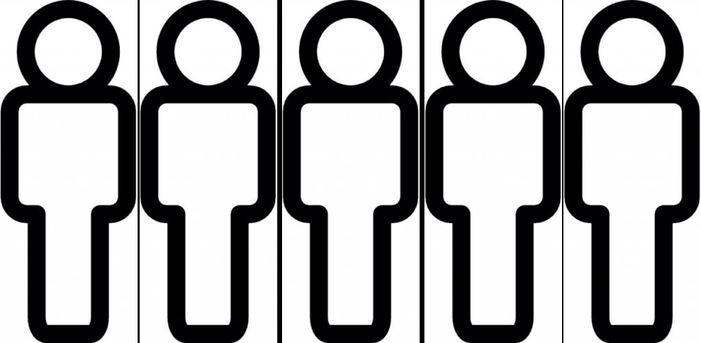 Fünf Mitarbeitermännchen